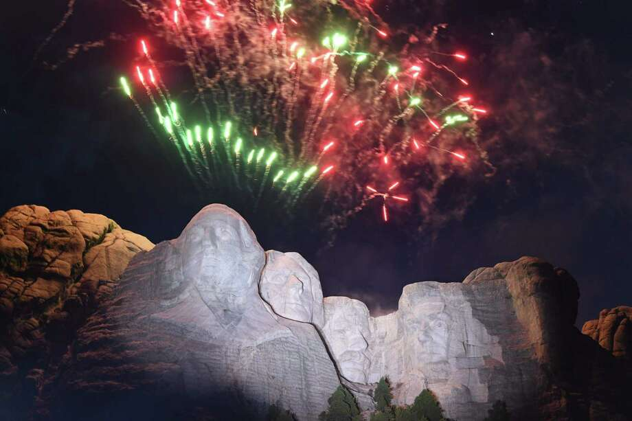 Fireworks explode above the Mount Rushmore National Monument during an Independence Day event attended by the US president in Keystone, South Dakota, July 3, 2020. (Photo by SAUL LOEB / AFP) (Photo by SAUL LOEB/AFP via Getty Images) Photo: SAUL LOEB / AFP or licensors