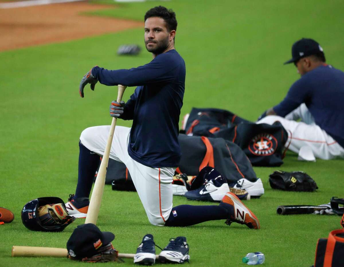 Houston Astros second baseman Jose Altuve during the Astros summer camp at Minute Maid Park, Saturday, July 4, 2020, in Houston.