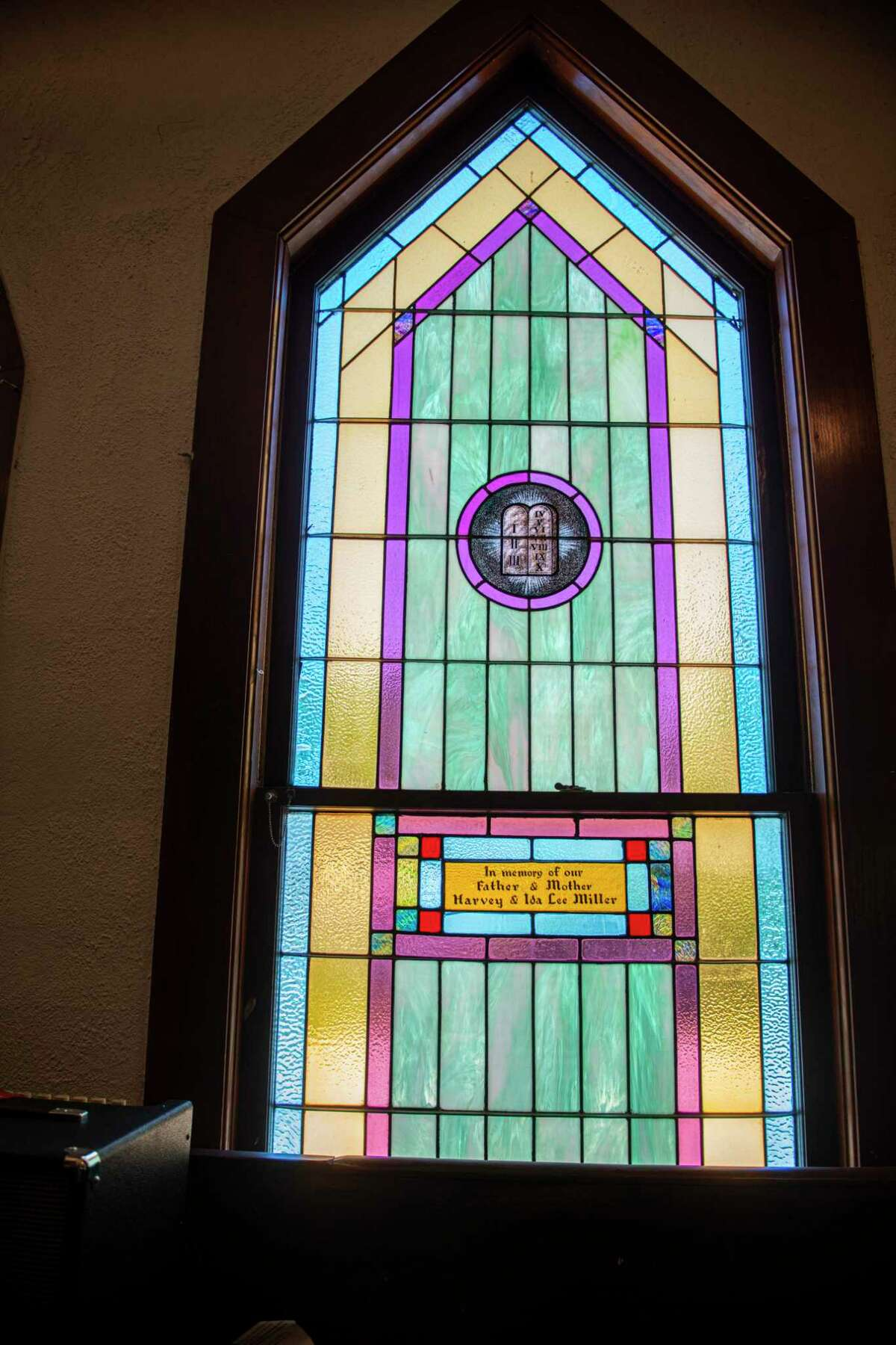 St. James African Methodist Episcopal Church, one of San Antonio's oldest Black churches, has multiple stain glass windows, each one dedicated to congregation members. The church is now located on the near West Side.