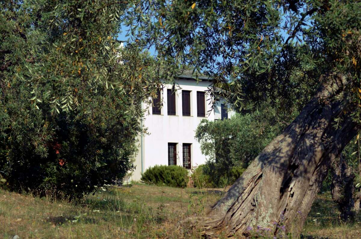 A view of Villa Irene which belongs to Stanley Johnson, father of Britain's Prime Minister Boris Johnson, in Horto village, Mount Pelion (also known as Pilio), central Greece, Friday, July 3, 2020. Johnson arrived in Athens on Wednesday evening after flying via Bulgaria due to a current ban on direct flights from the Britain, before visiting his villa on Mount Pelion. (Dimitris Kareklidis/magnesianews.gr via AP)