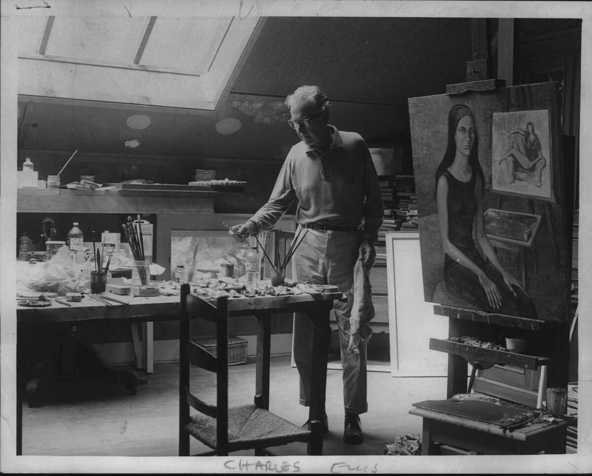 Charles Ellis, The host of Steepletop, painter, in his studio, brother-in-law of Edna St. Vincent Millay. July 16, 1966 (Times Union Archive)