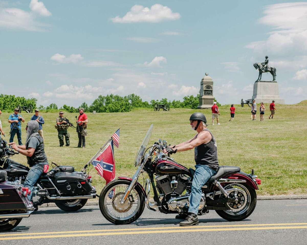 An online threat from the supposed leader of antifa called for the burning of American flags on the grounds of the Gettysburg National Military Park where militias and other white nationalists assembled to protect the historic grounds.