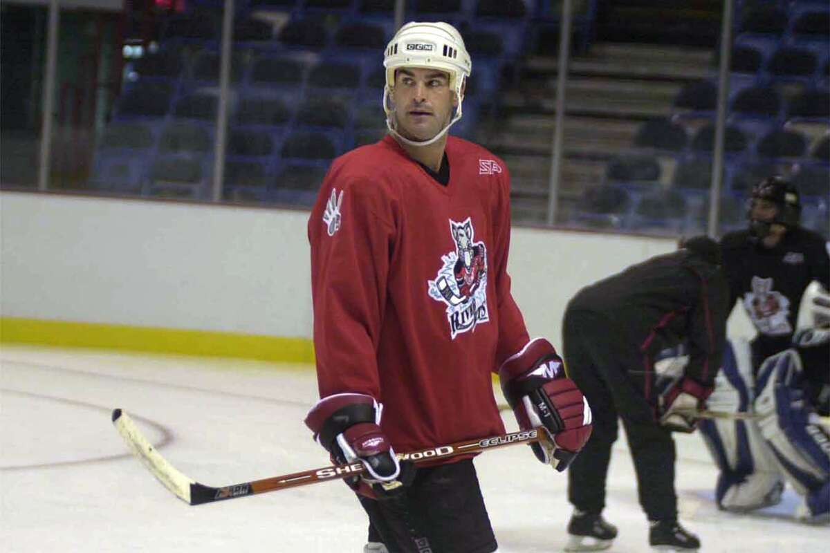 Times Union photo by STEVE JACOBS River Rat hockey player, Craig Darby during practice, Thursday, October 9,2003.
