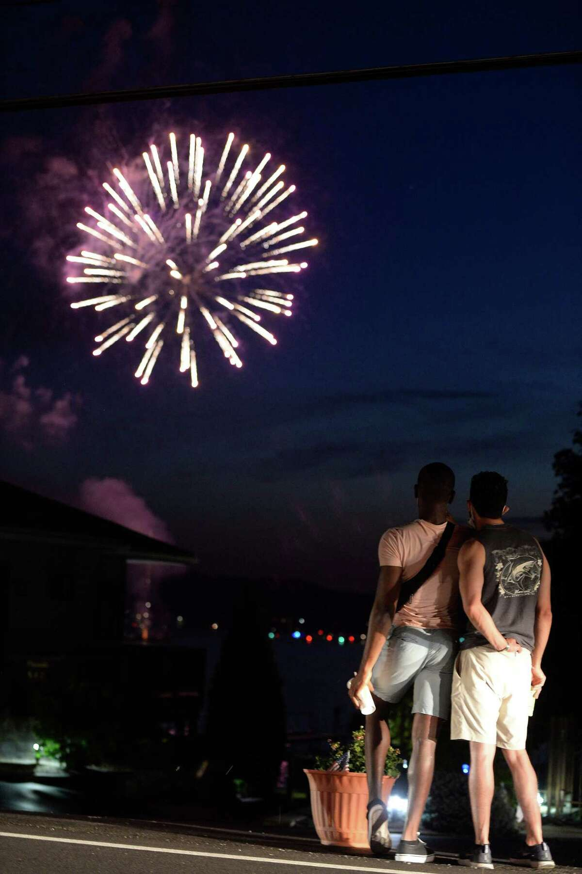 Independence Day fireworks are observed over Saratoga Lake in Saratoga Springs, N.Y., Saturday, Jul. 4, 2020.