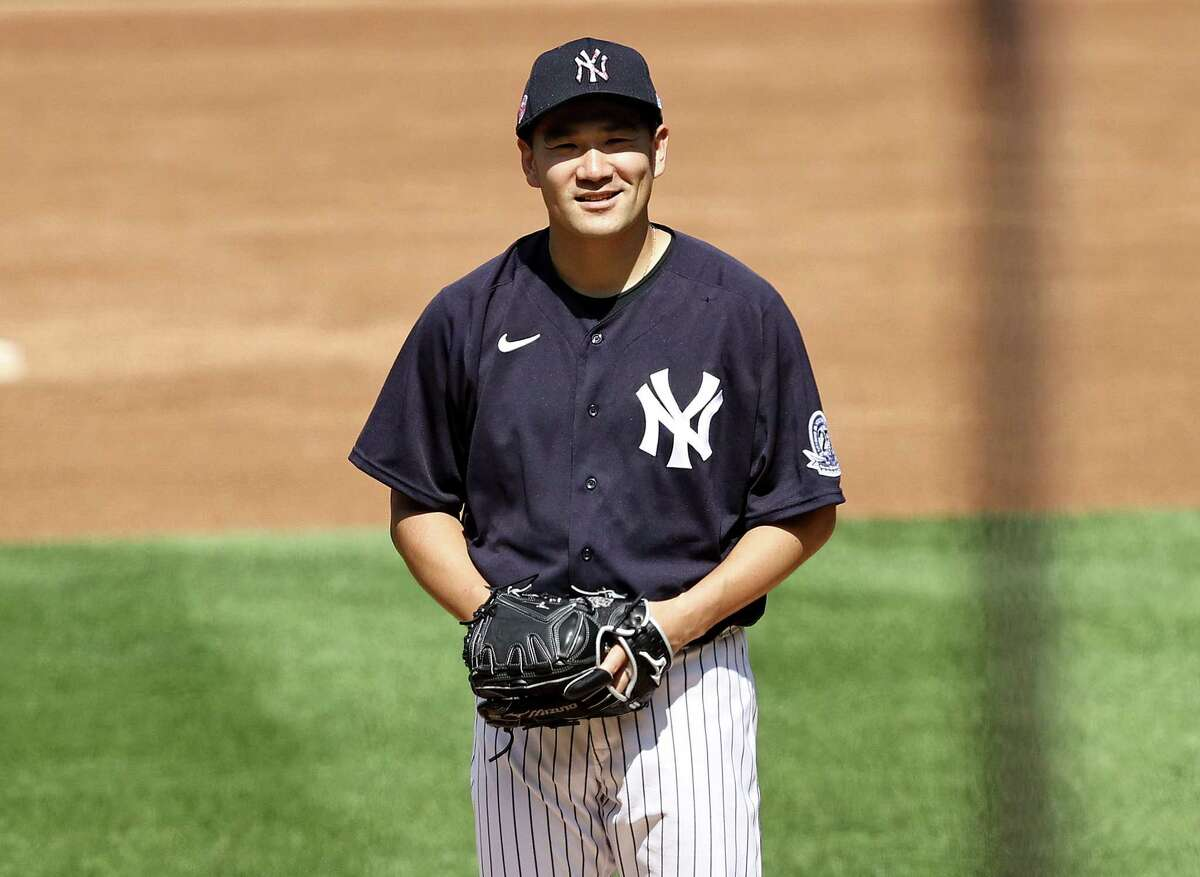 NEW YORK, NEW YORK - JULY 04: Masahiro Tanaka #19 of the New York Yankees works from the pitcher's mound during summer workouts at Yankee Stadium on July 04, 2020 in the Bronx borough of New York City. (Photo by Elsa/Getty Images)