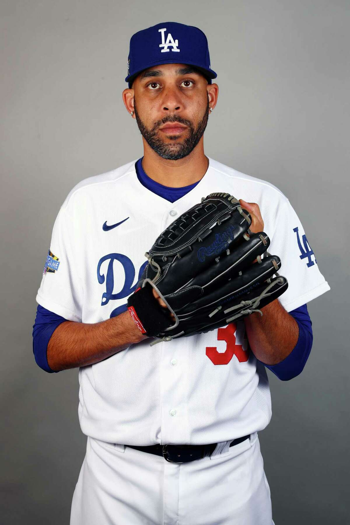 GLENDALE, AZ - FEBRUARY 20: David Price #33 of the Los Angeles Dodgers poses during Photo Day on Thursday, February 20, 2020 at Camelback Ranch in Glendale, Arizona. (Photo by Adam Glanzman/MLB Photos via Getty Images)
