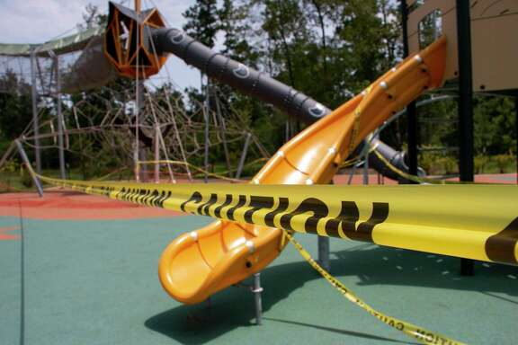 Harris County Precinct 2 Commissioner Adrian Garcia closed the new Atascocita Park for the holiday weekend as a precaution to prevent the potential spread of the novel coronavirus. Bright yellow caution tape was wrapped around the playground equipment and exterior of the picnic shelter.