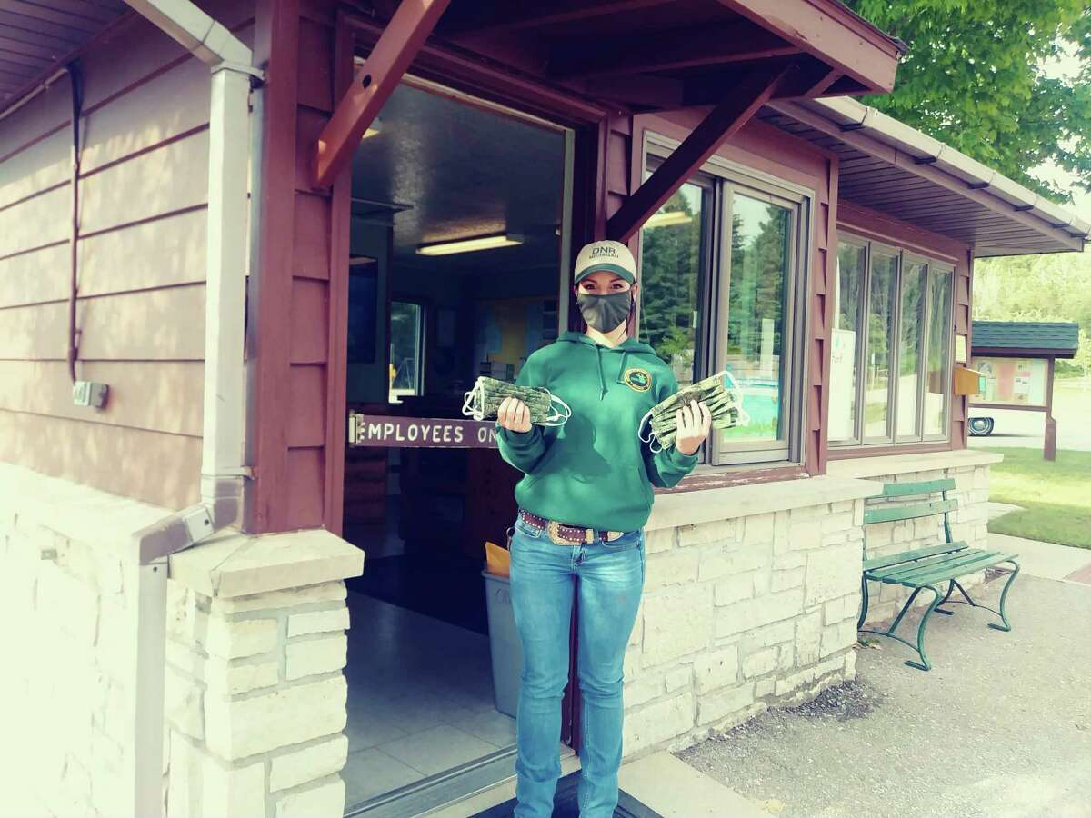 Free masks were distributed to the staff and volunteers at Orchard Beach State Park when it opened for the season on June 22. (Courtesy photo)