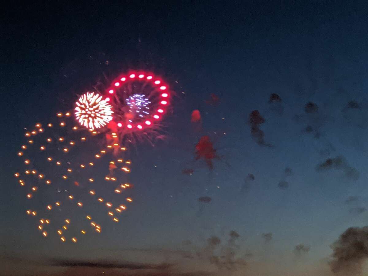 FILE - Fireworks over Beaverton's Ross Lake Park.