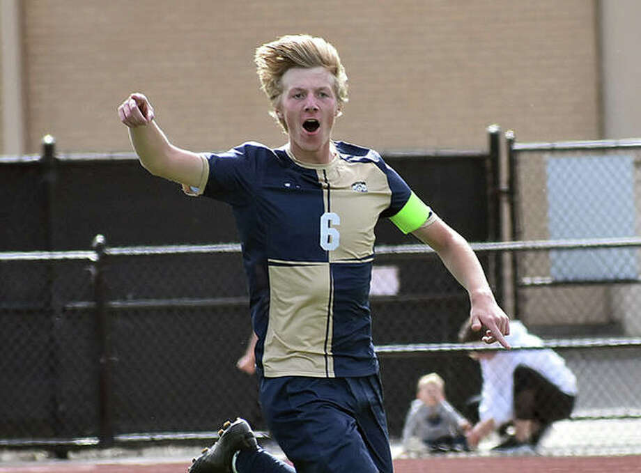 Father McGivney's Jonah Mitan shouts to the bench after scoring in the 51st minute against Althoff in the Class 1A Althoff Regional championship game in Belleville. Photo: Intelligencer Sports Staff