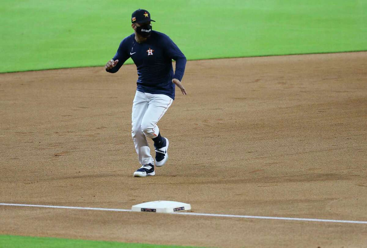 Houston Astros first baseman Yuli Gurriel runs the base during the running drill during the Astros summer camp Sunday, July 5, 2020, at Minute Maid Park in Houston.