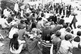 SIUE students gather for a protest at the Madison County Courthouse on May 5, 1970, the day after four Kent State University students were shot and killed by the Ohio National Guard during a peace rally.