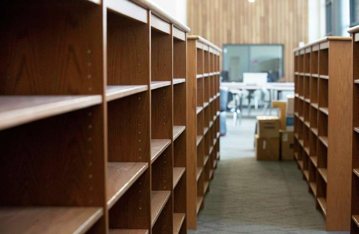 The library shelves of Conroe ISD's brnad new Stockton Jr. High School is photographed Thursday, July 2, 2020, in Conroe.