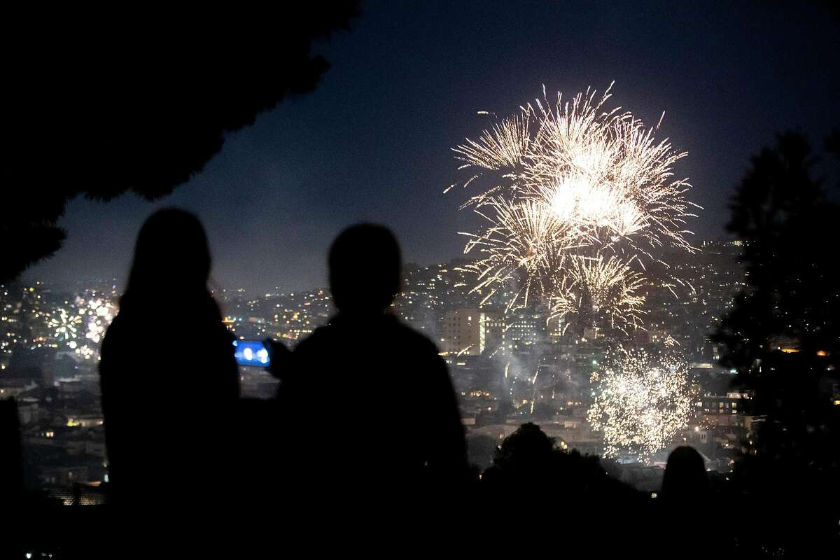 Fireworks in the Potrero Hill neighborhood on Saturday, July 4, 2020, in San Francisco, Calif.