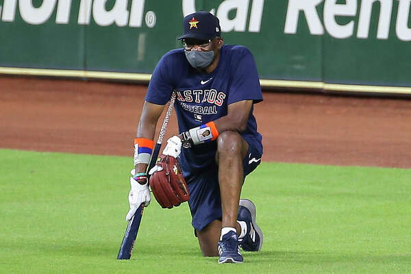 Houston Astros Manager Dusty Baker watches his players during the Astros summer camp Sunday, July 5, 2020, at Minute Maid Park in Houston.