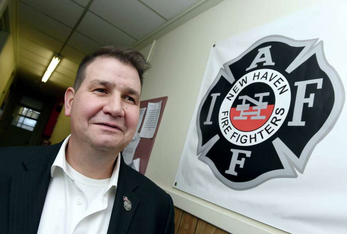 Frank Ricci, the president of the New Haven Fire Union Local 825, at the union office in New Haven on Dec. 7, 2018.