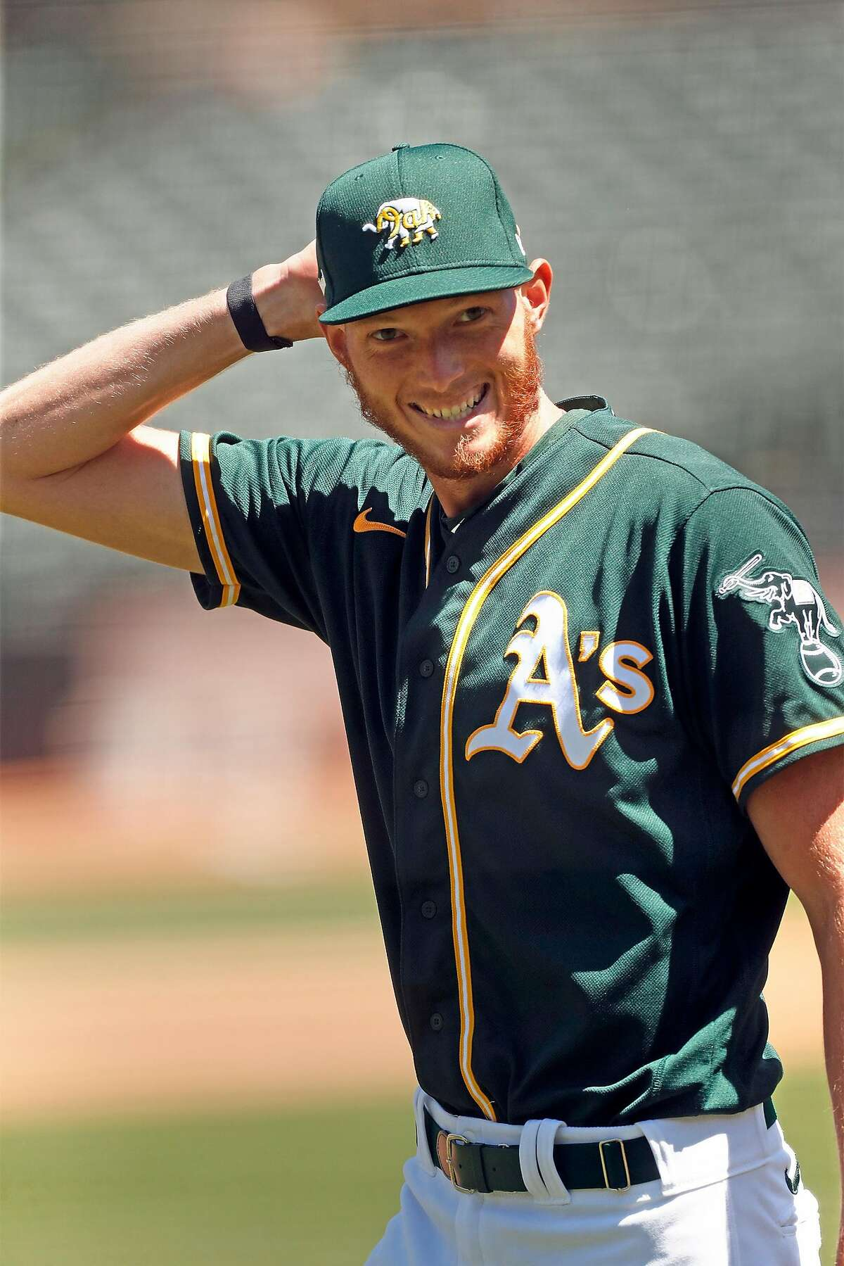 Oakland A's A.J. Puk during practice at Oakland Coliseum in Oakland, Calif., on Sunday, July 5, 2020.