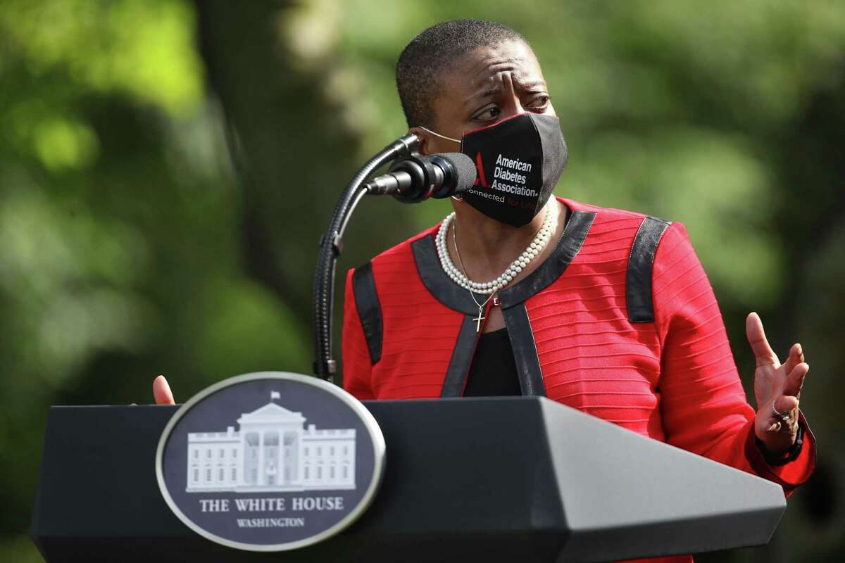 American Diabetes Association President Tracey Brown speaks during an event on protecting seniors with diabetes in the Rose Garden at the White House on May 26, 2020 in Washington, DC.