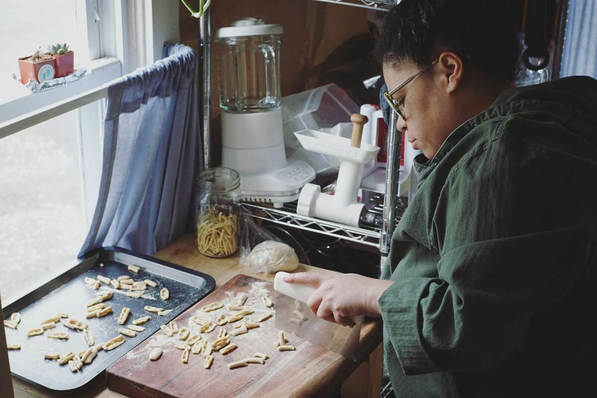 Writer Stephanie Gravalese, photographed here, marks progress in learning how to make 100 pasta shapes via her Instagram page.