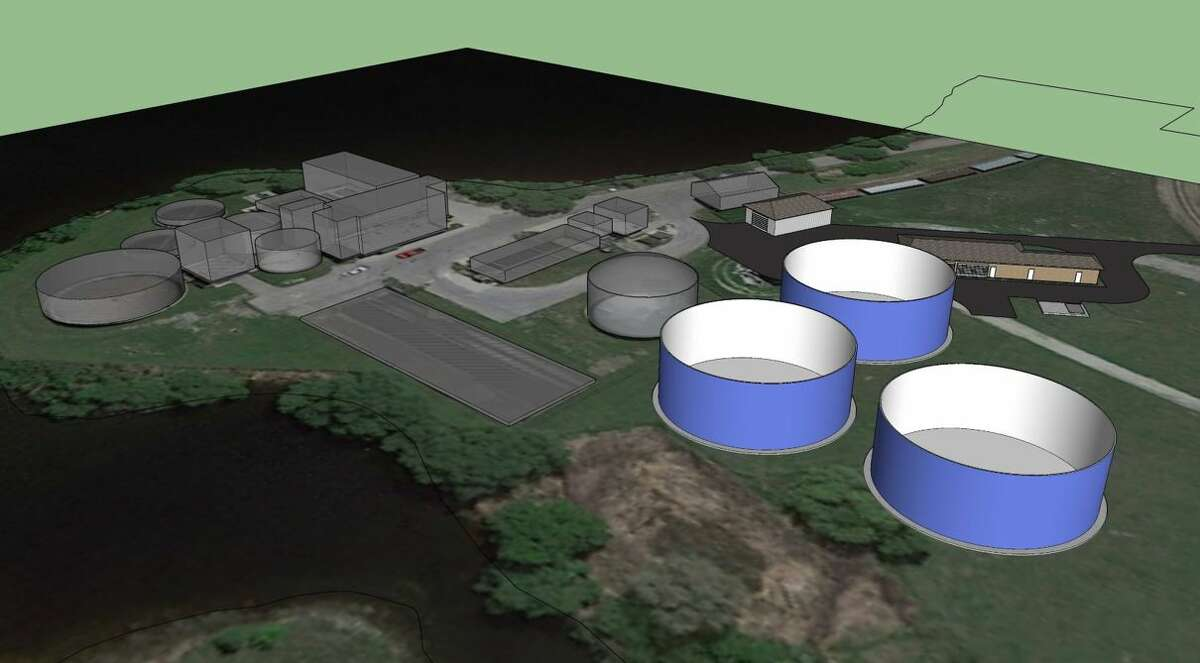 This rendering of the Manistee Wastewater Treatment Plant shows several key areas like the three blue storage tanks that will assist in the removal of overflows into Manistee Lake once the project is complete.