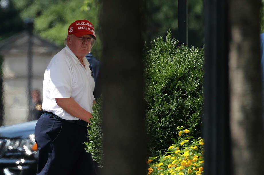 President Donald Trump arrives at the White House, Sunday, July 5, 2020, in Washington after visiting Trump National Golf Club in Sterling, Va. Photo: Patrick Semansky, AP / Copyright 2020 The Associated Press. All rights reserved.