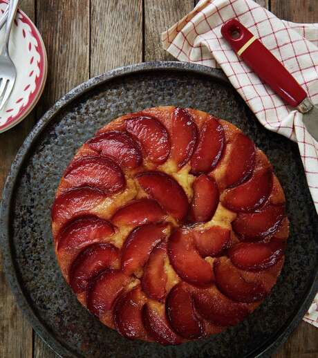 """Plum Upside Down Cakefrom """"The Duke's Mayonnaise Cookbook"""" by Ashley Strickland Freeman."""