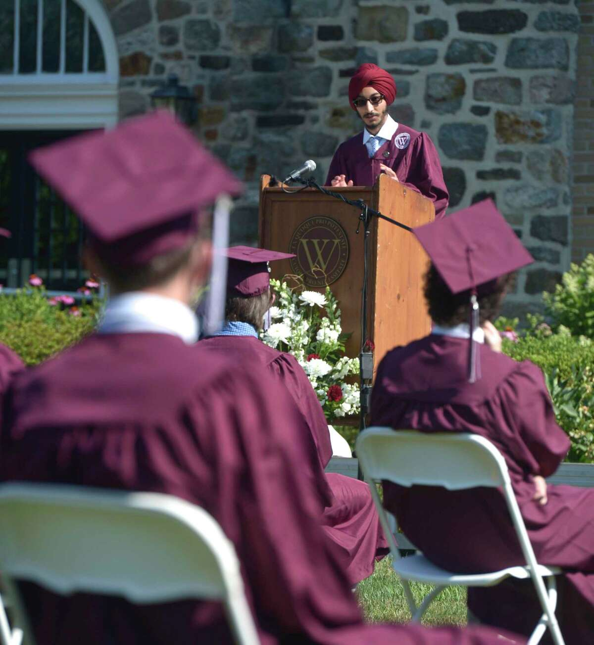 Sartaj Singh, class orator, gives his address during the Wooster School 2020 Commencement Exercises, Monday, July 6, 2020, on the school campus, Danbury, Conn.