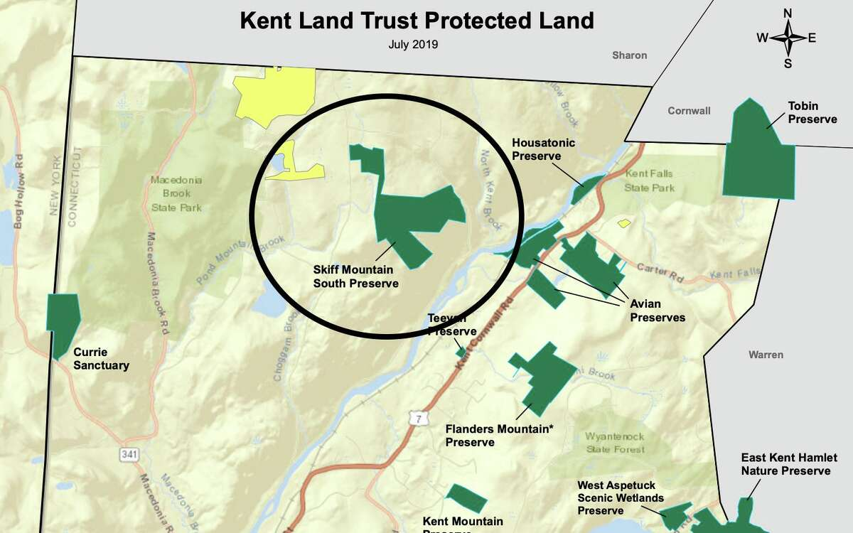 Location of the Skiff Mountain South Preserve in northern Kent, Conn.