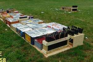Fireworks confiscated from an illicit gathering at Bible Street Park.