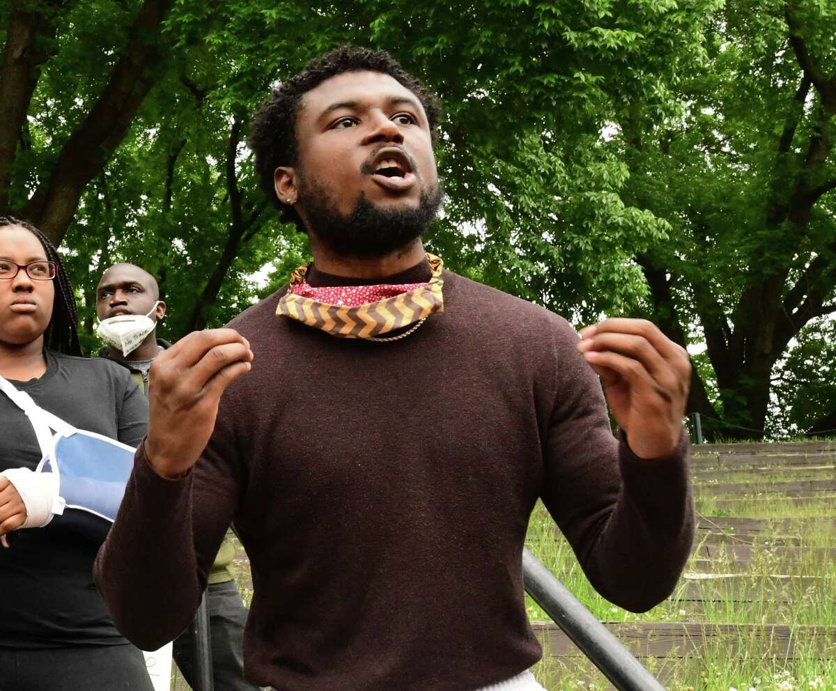 Lukee Forbes of Albany is seen in Washington Park at a Black Lives Matter rally on Wednesday, June 3, 2020 in Albany, N.Y. (Lori Van Buren/Times Union)