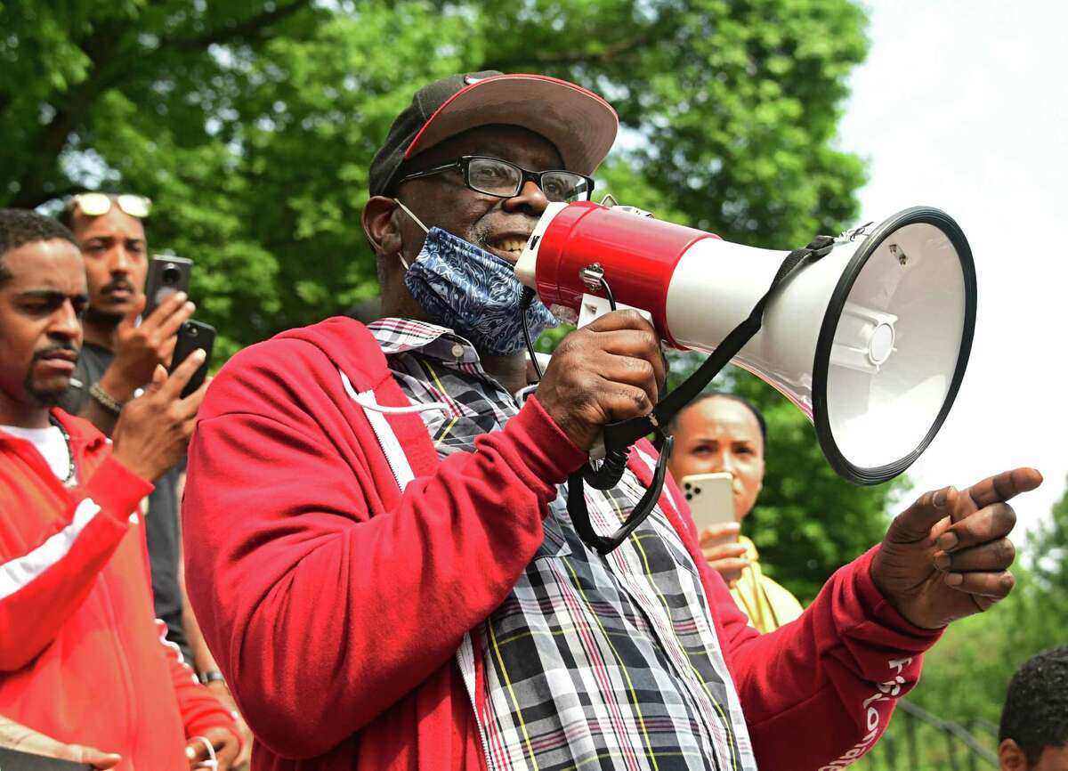 Ira McKinley is seen in Washington Park at a Black Lives Matter rally on Wednesday, June 3, 2020 in Albany, N.Y. (Lori Van Buren/Times Union)