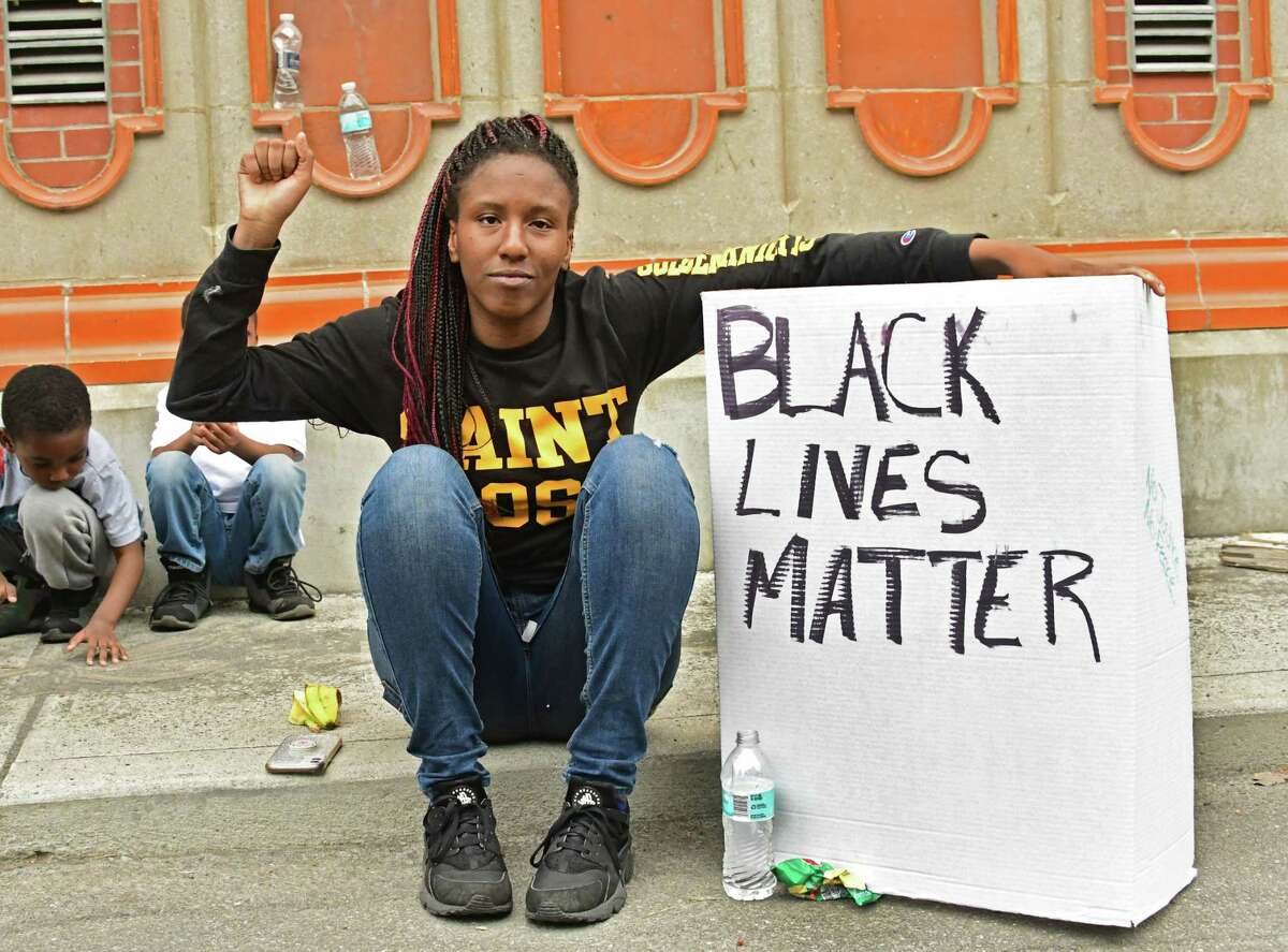 Ashley Turner of Albany is seen in Washington Park at a Black Lives Matter rally on Wednesday, June 3, 2020 in Albany, N.Y. (Lori Van Buren/Times Union)