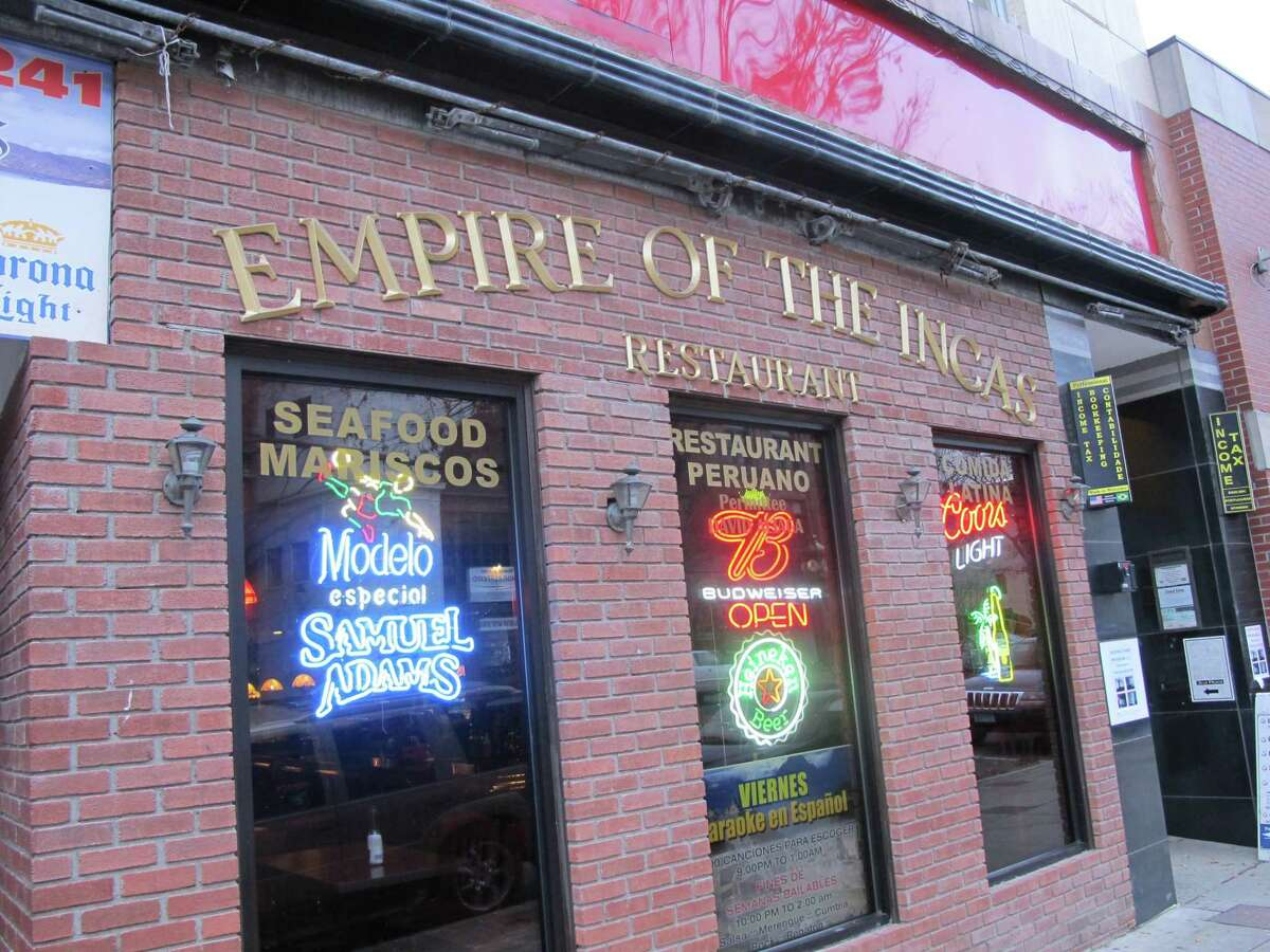 Empire of the Incas, a restaurant in Danbury, pictured before a facade upgrade partially paid for by the city.