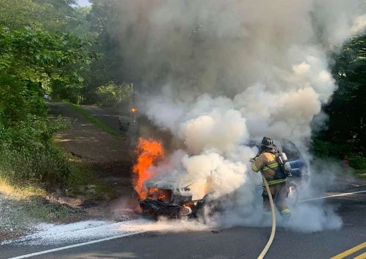 Scene of the vehicle fire on Old Waterbury Road in Southbury, Conn., July 2, 2020.