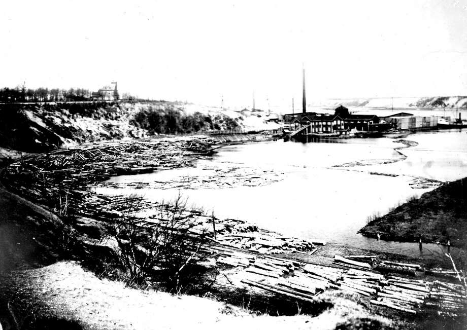 The Rietz Sawmill that was located on Manistee Lake is shown in this photograph from the 1880s.