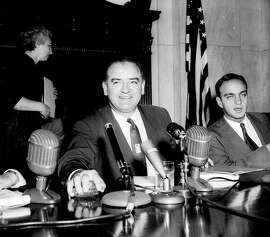 """** FILE ** Sen. Joe McCarthy, R-Wis.,  presides at a hearing of the Senate Investigations Subcommittee, in Washington,  in this March 10, 1954 file photo.  Seated at right is committee counsel Roy Cohn. The Senate is expected to release 4,000 pages of closed-door transcripts Monday, May 5, 2003 in Washington.  (AP Photo/File)  JOSEPH R. McCARTHY.   HOUCHRON CAPTION (05/06/2003):  Sen. Joseph McCarthy """" was only interested in those he could browbeat publicity."""""""