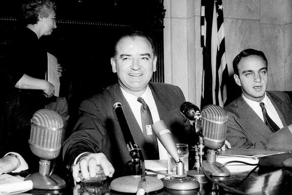 "** FILE ** Sen. Joe McCarthy, R-Wis.,  presides at a hearing of the Senate Investigations Subcommittee, in Washington,  in this March 10, 1954 file photo.  Seated at right is committee counsel Roy Cohn. The Senate is expected to release 4,000 pages of closed-door transcripts Monday, May 5, 2003 in Washington.  (AP Photo/File)  JOSEPH R. McCARTHY.   HOUCHRON CAPTION (05/06/2003):  Sen. Joseph McCarthy "" was only interested in those he could browbeat publicity."""