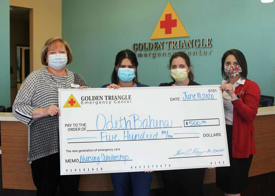 From left: Shirley MacNeil, Chair of Lamar State College Port Arthur-s Allied Health Department; Odetha Bahena, scholarship recipient; Stephanie Massey, Director of Nursing for Golden Triangle Emergency Center; and Breanne Furlough, Marketing Coordinator for Golden Triangle Emergency Center. Photo: Lamar State College Port Arthur