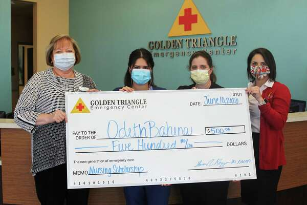 From left: Shirley MacNeil, Chair of Lamar State College Port Arthur-s Allied Health Department; Odetha Bahena, scholarship recipient; Stephanie Massey, Director of Nursing for Golden Triangle Emergency Center; and Breanne Furlough, Marketing Coordinator for Golden Triangle Emergency Center.