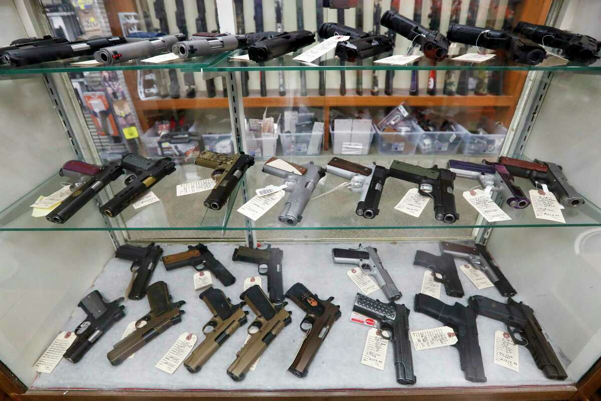 Semi-Automatic handguns displayed at Duke's Sport Shop March 25, in New Castle, Pennsylvania.