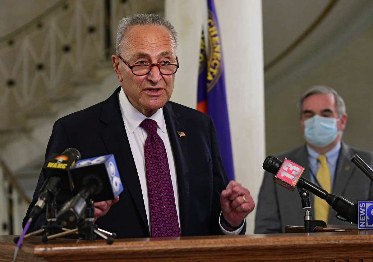 U.S. Senator Charles Schumer holds a press conference in Schenectady City Hall as local governments face uncertain budgets amid crises on Monday, July 6, 2020 in Schenectady, N.Y. Mayor Gary McCarthy listens at right.(Lori Van Buren/Times Union)