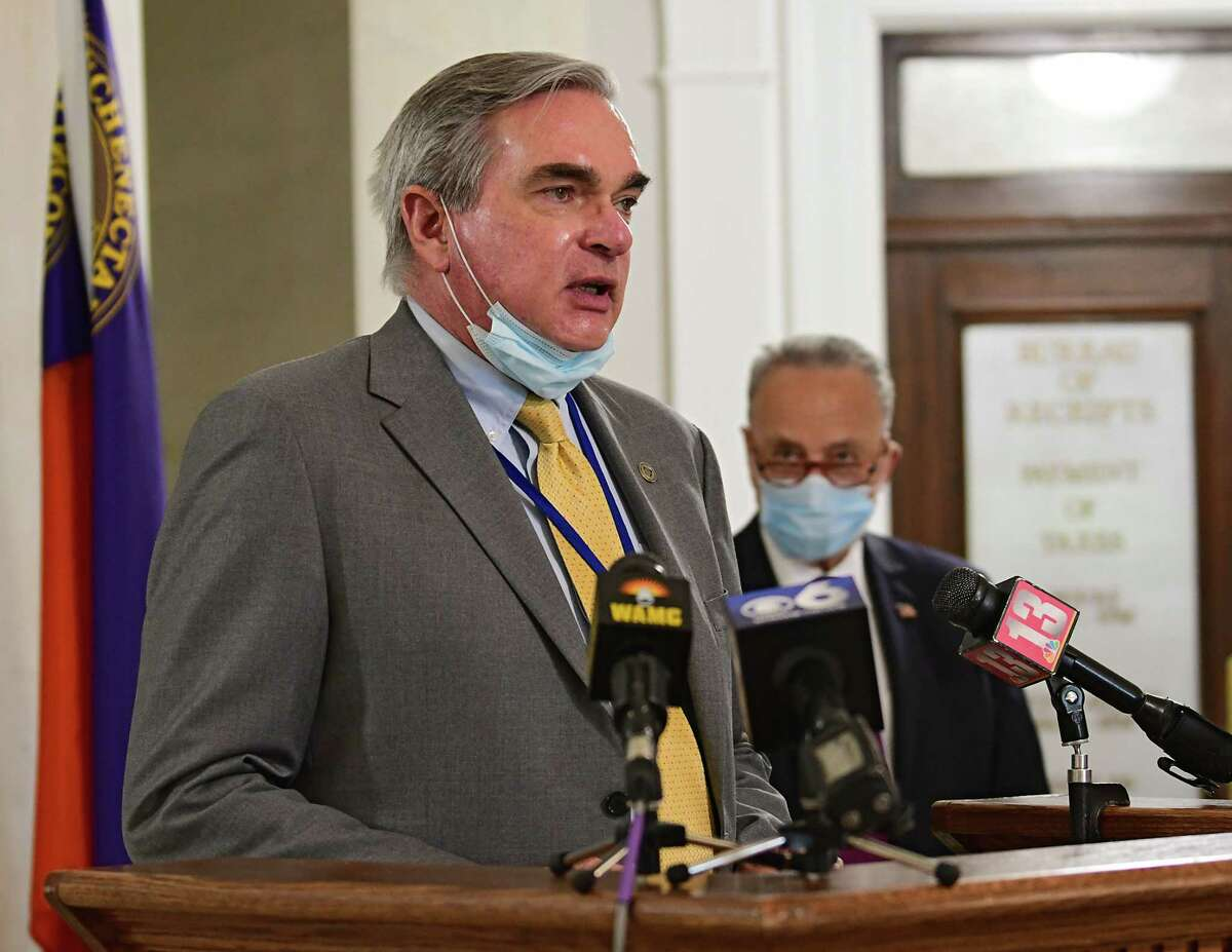 Mayor Gary McCarthy speaks as U.S. Senator Charles Schumer, right, holds a press conference in Schenectady City Hall as local governments face uncertain budgets amid crises on Monday, July 6, 2020 in Schenectady. McCarthy's office is building a spending plan for next year at a time when the city, like other New York municipalities faces a bleak financial future. (Lori Van Buren/Times Union)