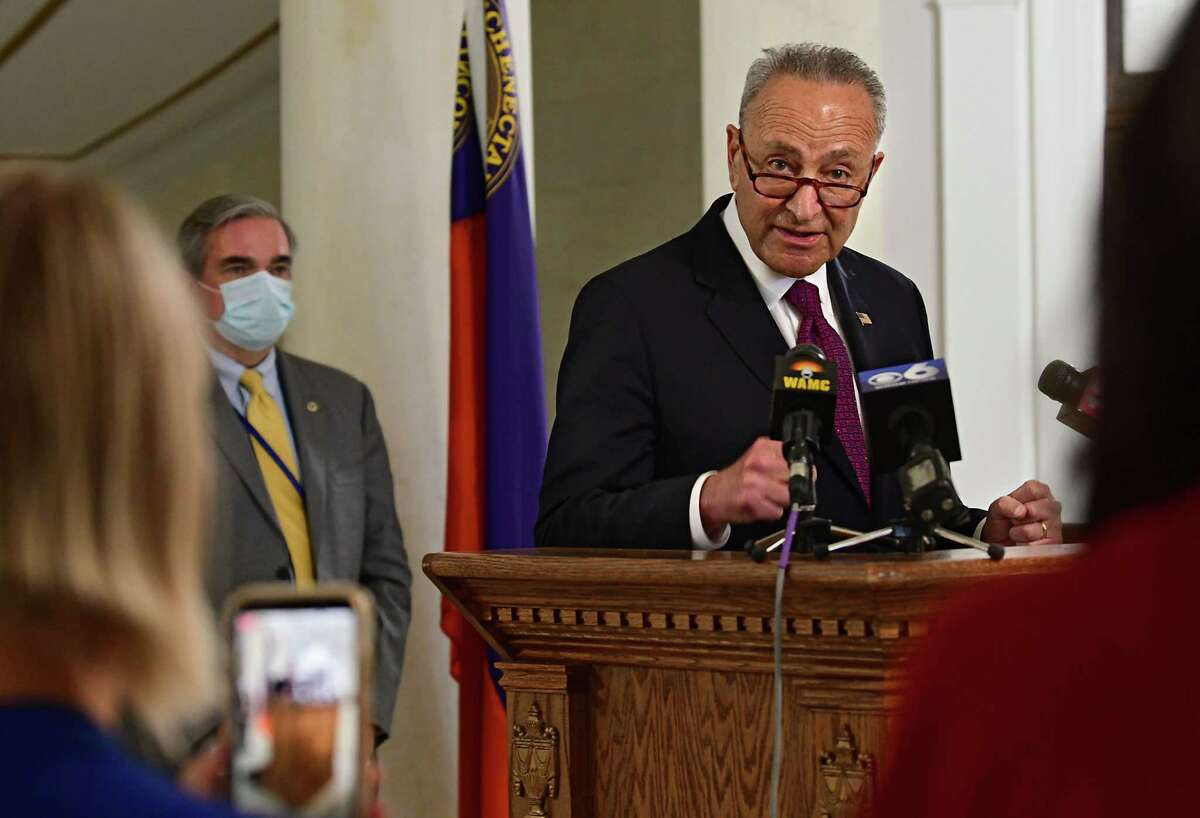 U.S. Senator Charles Schumer holds a press conference in Schenectady City Hall as local governments face uncertain budgets amid crises on Monday, July 6, 2020 in Schenectady, N.Y. Mayor Gary McCarthy listens at left.(Lori Van Buren/Times Union)