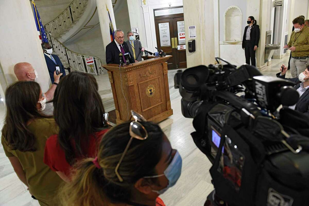 U.S. Senator Charles Schumer holds a press conference in Schenectady City Hall as local governments face uncertain budgets amid crises on Monday, July 6, 2020 in Schenectady, N.Y. (Lori Van Buren/Times Union)