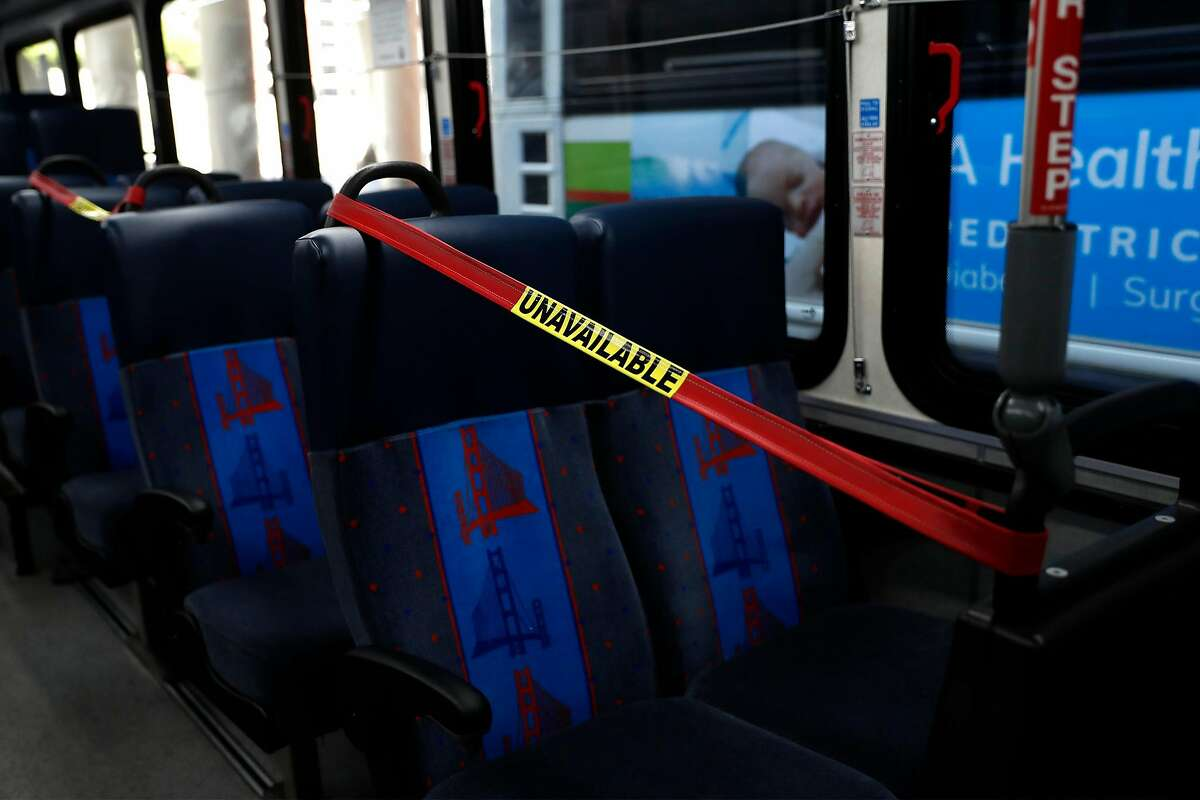 Two seats in each row are unavailable on a Golden Gate Transport bus in San Francisco, Calif., on Wednesday, June 24, 2020. People returning to public transportation can expect familiar safety protocols used on recommendations from the CDC. Those include mandatory face coverings for riders and operators, physical distancing markers and limited capacity on all vehicles.