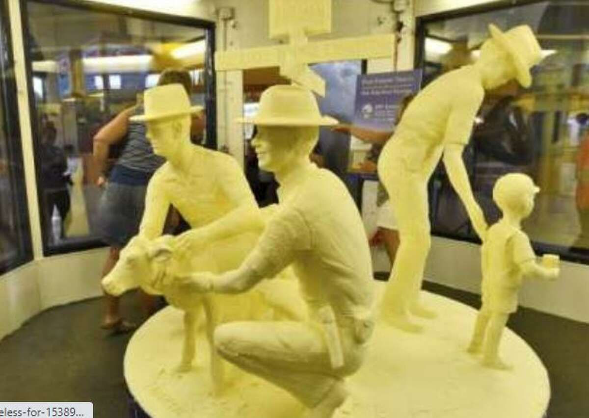 The butter sculpture is an annual state fair favorite but not this year since the fair has been cancelled due to COVID-19.