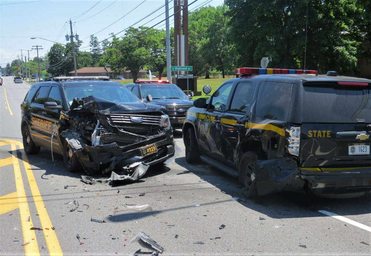 A State Police SUV and an SUV driven by a Rensselaer County sheriff's deputy were damaged in a crash Monday near Stuyvesant Plaza in Guilderland. It does not appear that anyone was badly injured in the crash.