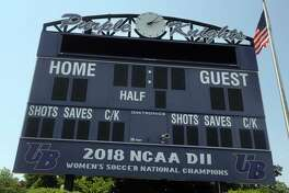 The scoreboard at the soccer stadium on the campus of the University of Bridgeport.