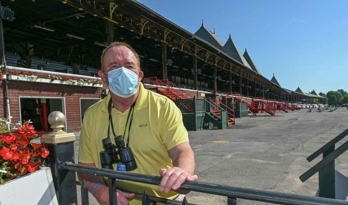 Times Union handicapper Tim Wilkin visits the Saratoga Race Course July 6, 2020, days before the meeting starts in Saratoga Springs, N.Y. Photo by Skip Dickstein/Special To the Times Union.
