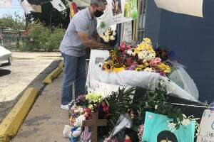 San Antonio Mayor Ron Nirenberg added a bouquet of white roses to a tribute set up on the South Side in honor of Army Specialist Vanessa Guillén on Sunday.